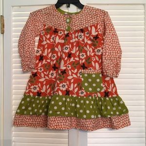 Jelly the Pug Orange Green Floral Ruffle Dress